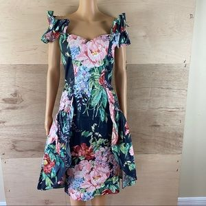 Vintage 80's Louisa Nevins Floral Party Dress